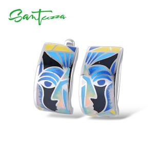 Image 2 - Женские серебряные серьги SANTUZZA, вечерние серьги из стерлингового серебра 925 пробы с разноцветной эмалью ручной работы