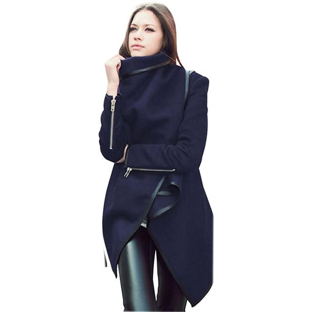 Mujeres Moda Delgado Caliente Del Invierno Irregulares Cardigans Trench Otoño Street Style Señora Fit Abrigo Largo de Lana Blend Blusa Outwear Nov24