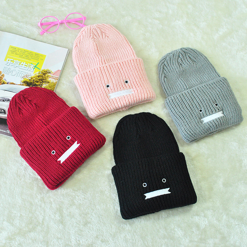 2016 women fall/winter fashion face knit adult warm Cap wool hat hats wholesale Snapback Warm girl hats