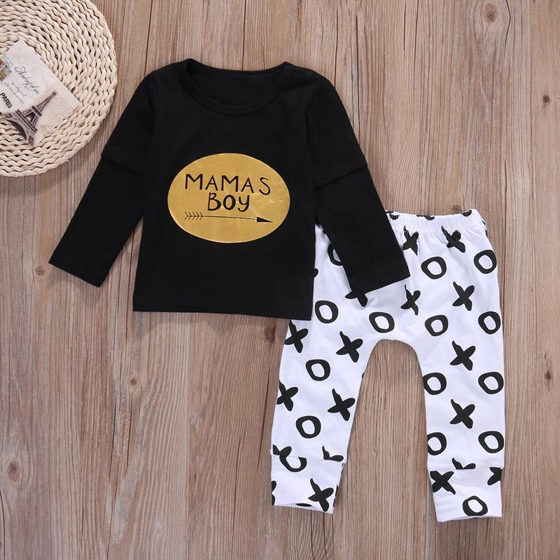 2pcs Newborn Baby Boys Clothes Set Gold Letter MAMAS BOY Outfit T-shirt Pants Kids Autumn Long Sleeve Tops Baby Boy Clothes Set 4