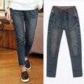 2017 новая мода весна и осень женские джинсы синие джинсы свободные отверстие шаровары старинные высокая талия мыть джинсы женские 5XL XL