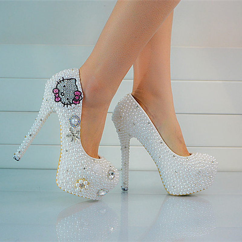 2018 Handmade Lady Formal Shoes High Heels Pearls Beaded Women Beaded Bridal Evening Prom Party Wedding Dresses Bridesmaid Shoes