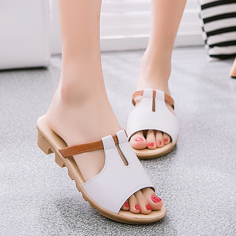 Fashion font b Women b font Shoes Genuine Leather Slippers Female Flat Sandals Casual Slip Resistant