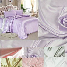 Free Shipping wholesale 6 color wide width 280cm  Pure Silk Satin Fabric  for bedding set pillowcase sheet and quilt cover
