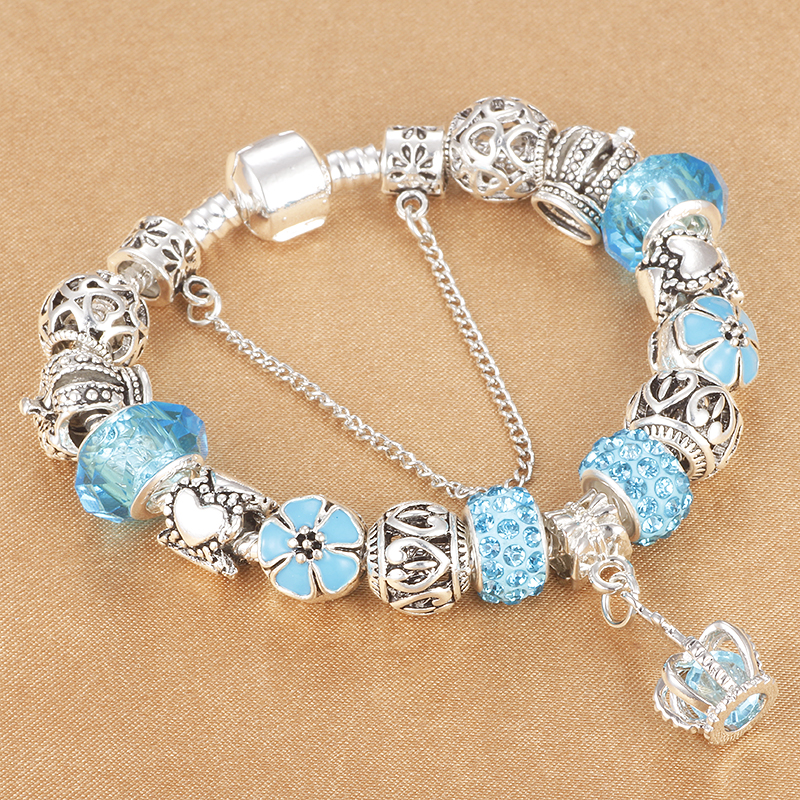 HOMOD Sky Blue Crown Crystal Floating Charm Beads Bracelet for Women Pandora Bracelet Diy Pulseras