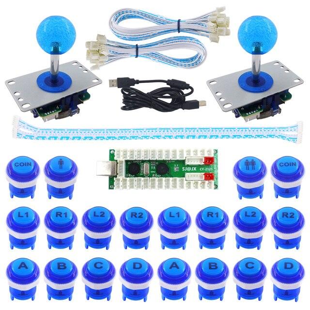 US $62 5 |SJ@JX 2 Player LED Arcade Game DIY Kit LED Button Retropie  Fighting Joystick Controller Raspberry Pi Zero delay USB Encoder-in  Replacement