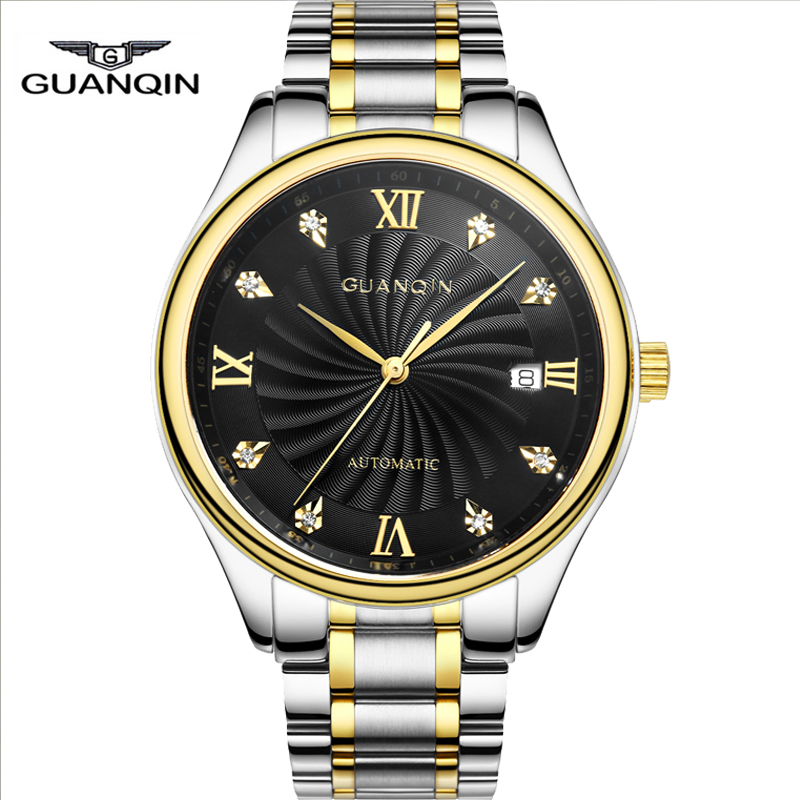 GUANQIN original brand men automatic mechanical watch stainless steel luxury business Wristwatch male Luminous Casual clock hour guanqin gj16031 top brand luxury automatic mechanical tourbillon watch men luminous stainless steel wristwatch montre homme