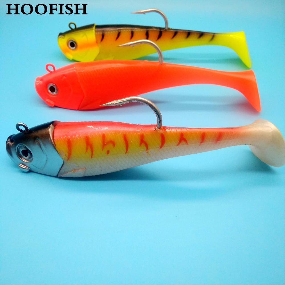 HOOFISH 1PCS Jig Soft Fishing Lure 400g/19cm Single Hook T Tail Bait fishing lure fishing tackle 50pcs new wifreo soft lure loader locker connector fishing worm hook bait accessories for bass fishing wholesale