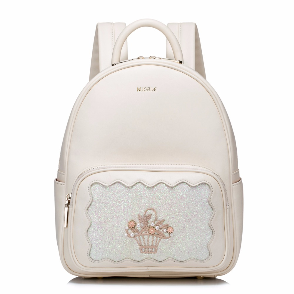 2017 Hot Sale Fashion Embroidery Pearls PU Women Leather Ladies Girls Student Backpacks Daypacks Shoulders School Travel Bags