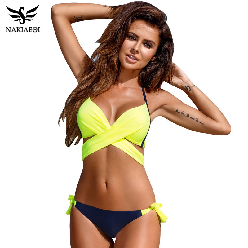NAKIAEOI 2018 Sexy Bikini Women Swimsuit Push Up pakaian renang Criss Cross Bandage Halter Bikini Set Beach Bathing Suit Swim Wear XXL