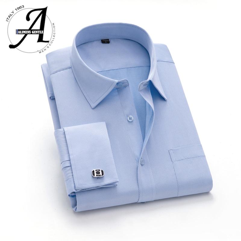 15XL 12XL 9XL Big Size French Cuff Shirt Slim Fit Casual Shirts Brand New Camisa Masculina Long Sleeve French Cuff Dress Shirts