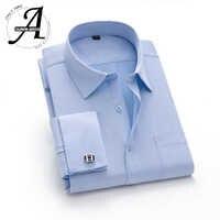 15XL 12XL 9XL grande taille chemise à manchette française Slim Fit chemises décontractées nouvelle marque Camisa Masculina manches longues chemises à manchette française
