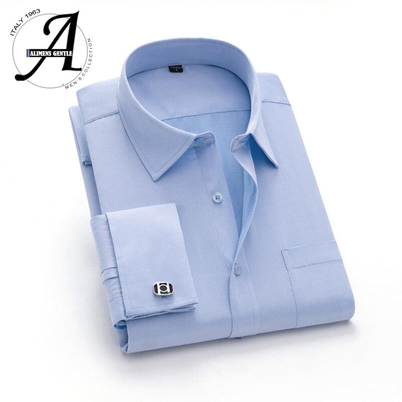 15xl 12xl 9xl tamanho grande francês manguito camisa magro ajuste camisas casuais marca nova camisa masculina manga longa francês manguito vestido camisas
