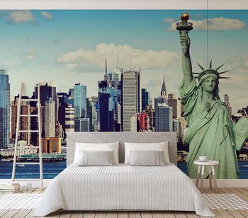 Custom wallpaper City building statue of liberty background wall