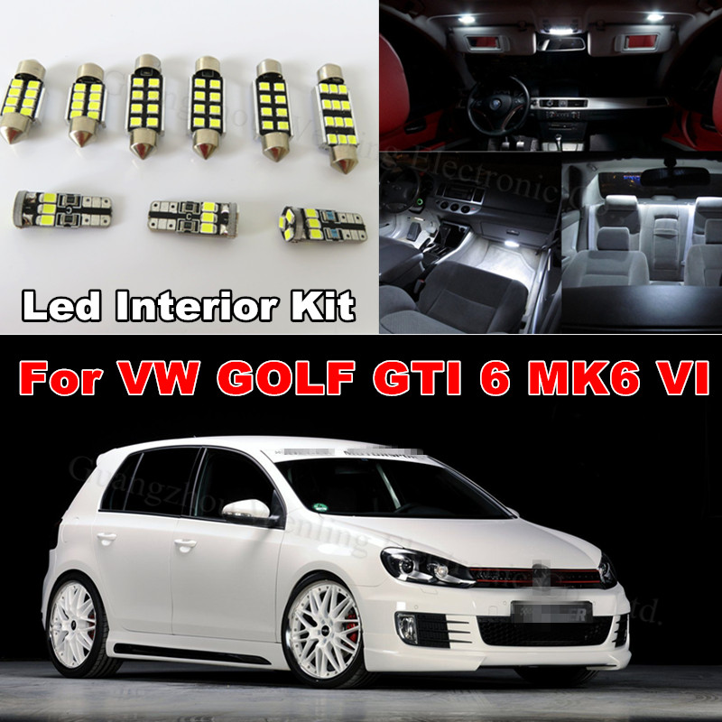 WLJH 11x Pure White Canbus Light Dome Interior Car Interior Lighting Kit For Volkswagen VW GOLF 6 VI GTI MK6 2010 2011 2013 2014 canbus error free for volkswagen vw golf 6 mk6 gti led interior light kit package 2010 car stying 8pcs