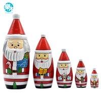 5 PCS Presente Christams Papai Boneca Matryoshka De Madeira De Madeira Do Assentamento Do Russo Dolls Matreshka Handmade Artesanato para o Natal
