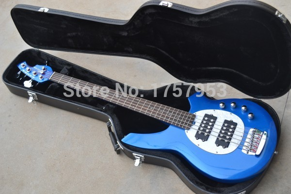 Factory custom shop 2017 Top Quality 5 Strings Active Pickups Bongo Music Man blue Bass Guitar with case free shipping (HAI 4