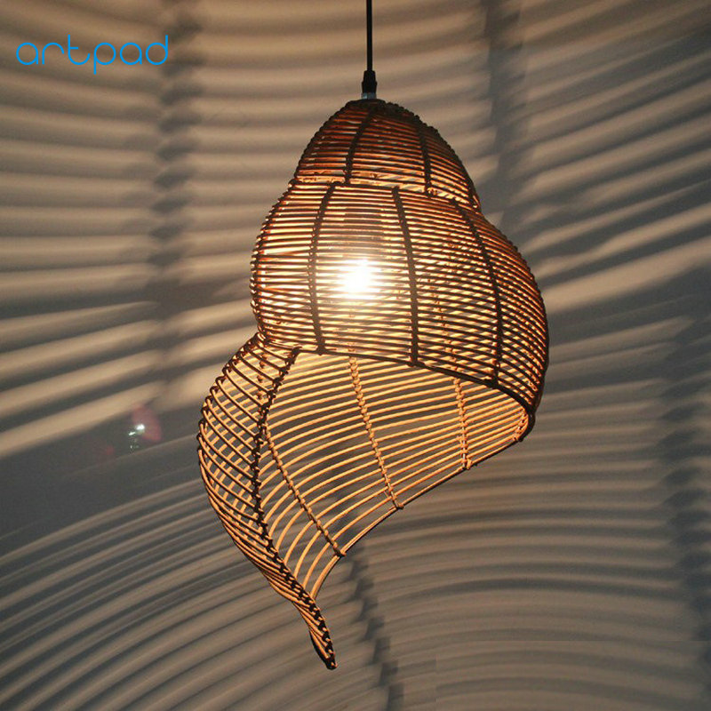 Artpad Southeast Asia Creative Bamboo Pendant Lamp Sea Snail Shape E27 Wicker Lamp Shades LED Lights For Study Parlor Fixtures