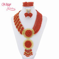 Nigeria Handmade 6 Rows Hồng Nóng Vòng Cổ đẹp, Kỳ Nghỉ Bên Vòng Cổ, Bridesmaid Necklace, Tuyên Bố Vòng Cổ HD44