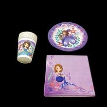Baby kids birthday party disposable table sets Disney princess sofia decoration 22pcs supplies paper plates cups napkin