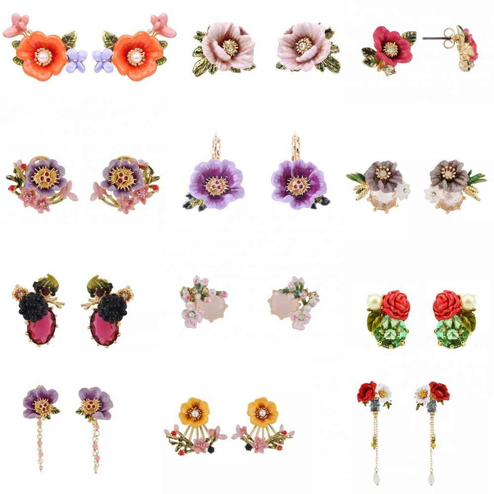 Amybaby Golden Butterfly Red Flower Crystal Hook Earring Enamell Glaze Jewelry