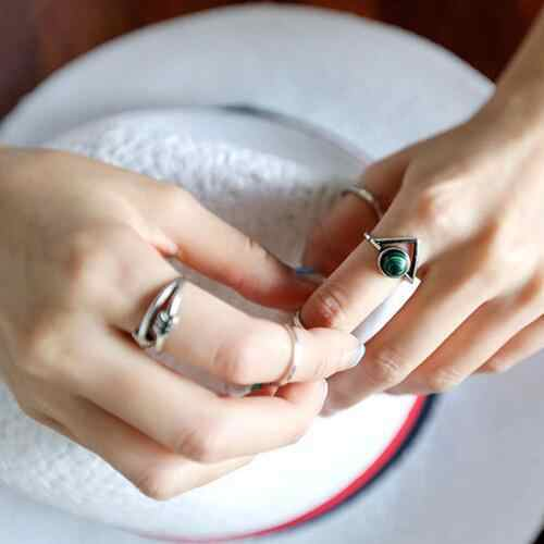 Coreano Minimalista Retro del Triangolo Cinque pezzi Combinazione Anello di Modo Verde Zircone Anello Dito Indice Freccia Gioielli Anello di Coda