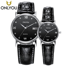 ONLYOU 2017 NEW Luxury Brand Men Military Sport Watches Woman Quartz Clock Couple Real Leather Band Wristwatch in Gift Caskets