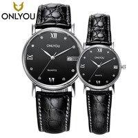 Onlyou 2017 Новый Элитный бренд Для мужчин Военная Униформа спортивный Часы женские кварцевые часы пара реального кожаный ремешок наручные часы