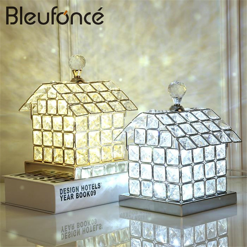 Bedroom Bedside Light Fashion Creative Crystal Table Lamp Room Decoration Personality Lamp LED House Desk Lamp Night Light BL211 2016 new mediterranean lighthouse led lamp children s room bedroom lamps creative bedside table lamp