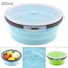 цены 800ML Portable Silicone Lunch Box Collapsible Bowl Colorful Folding Food Container Lunchbox Eco-Friendly