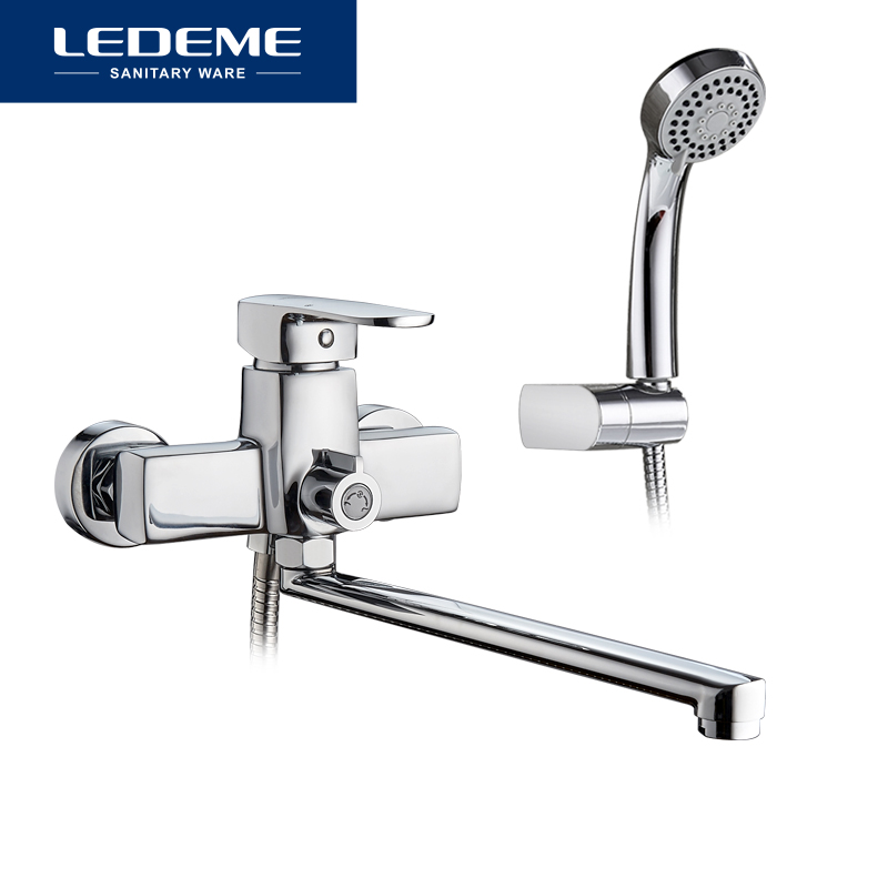 LEDEME Modern Style 1 Set Bathroom Bathtub Faucet Chrome Brass Cold And Hot Water Mixer Chrome Shower Tap Single Handle L2254