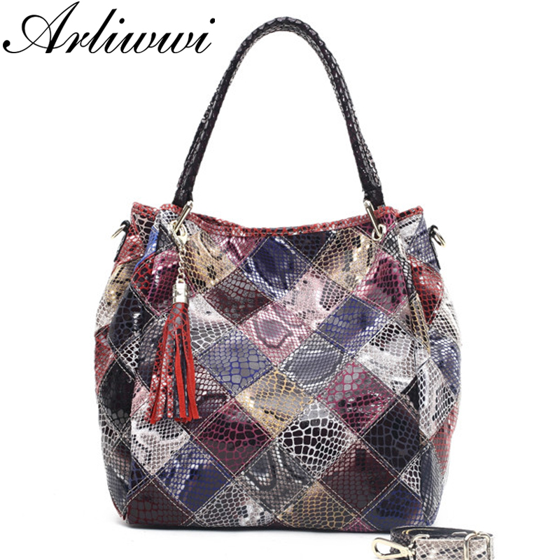 Arliwwi Brand Classical Snake Pattern Ladies Tote 100% Genuine Leather Fashion Women's Real Cowhide Crossbody Bag Handbags