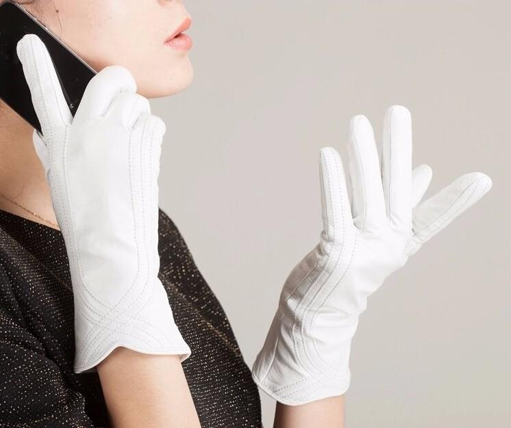 High Quality Women Genuine Sheepskin Winter Women Leather Gloves Lady knitting lined Warm Winter Mittens women gloves 18