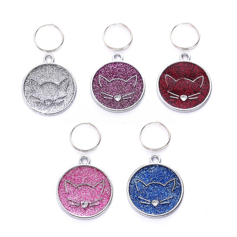 Zinc Alloy Pet ID Tag with Cat Face Identify Card Mini Dog Cat ID Tag Collar Pendant Personalized Pet Accessories