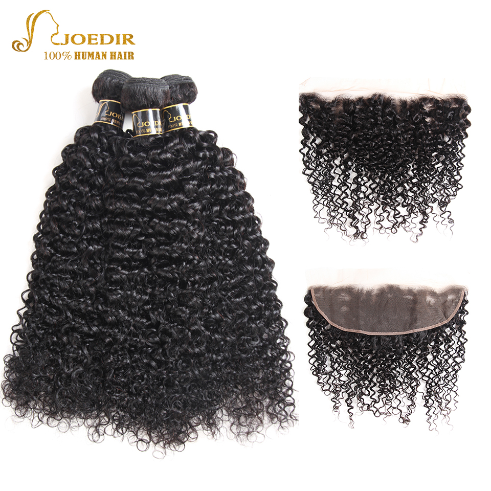 Joedir Hair Curly Peruvian Hair Bundles With Pre Plucked Lace Frontal Kinky Curly Human Hair 3 Bundles With Frontal Free Part