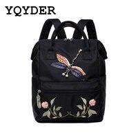 Large Capacity Multifunctional Nylon Women Backpack Embroidery Flower Back Pack Animal Pattern School Bag Female Mochila