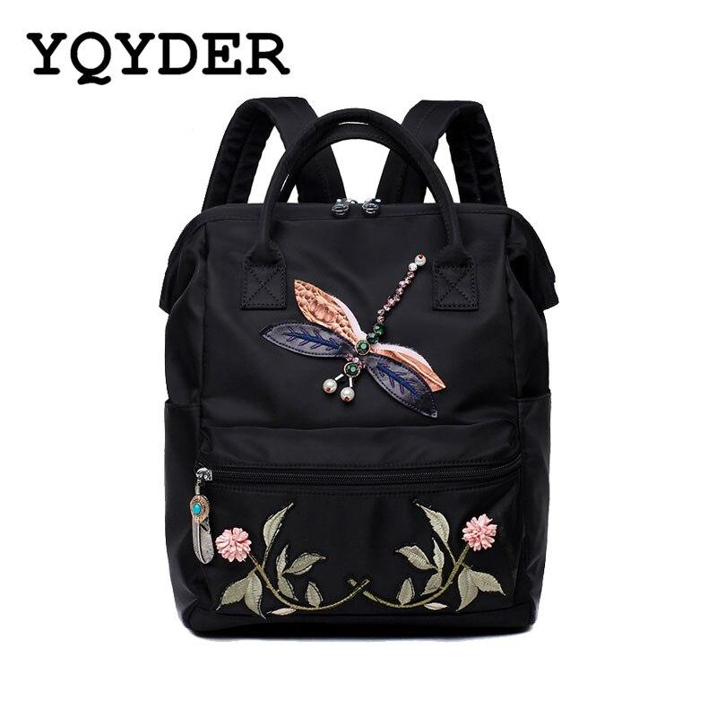 Large Capacity Multifunctional Nylon Women Backpack Embroidery Flower Back Pack Animal Pattern School Bag Female Mochila Femini