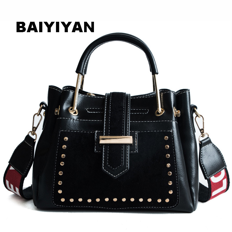 New Fashion Women's Rivet Tote Bag Famous Brand Luxury Handbag Retro Shoulder Bag High Quality PU Leather Ladies Shopping Bag