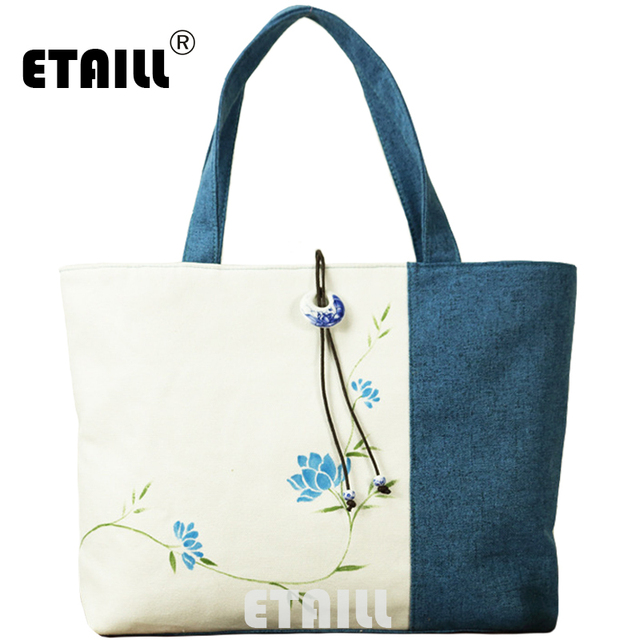 ETAILL 2017 New Flower Hand Painted Shoulder Bag Cotton Fabric Chinese  style Women Handbags Shopping Bags