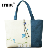 ETAILL 2017 New Flower Hand Painted Shoulder Bag Cotton Fabric Chinese style Women Handbags Shopping Bags Stitching Female Bag