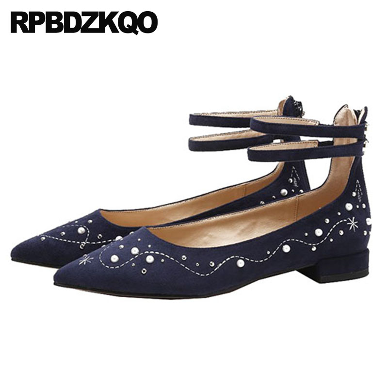 Detail Feedback Questions about Women Metal Rivet Nude Pointed Toe Suede  Pearl Flats Navy Blue Embroidery Ankle Strap Stud Dress Chic Chinese  Embroidered ... f14c929e5823