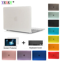 YRSKV-Crystal\Matte Transparent case For Apple macbook Air Pro Retina 11 12 13 15 laptop bag for macbook Air 13 case cover+gift(China)