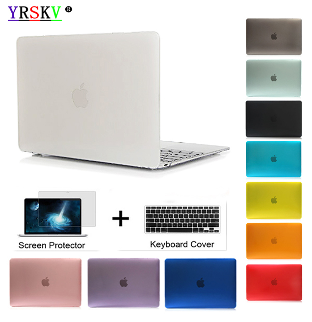 Yrskv-crystal \ Matte funda transparente para Apple macbook Air Pro Retina 11 12 13 15 bolsa de ordenador portátil para macbook Air 13 funda + regalo