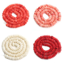 1strand 3*7mm Natural Stone Coral Oblate Beads Orange/Pink/White/Red Spacer Beads For Necklace Bracelet Jewelry Making F3898