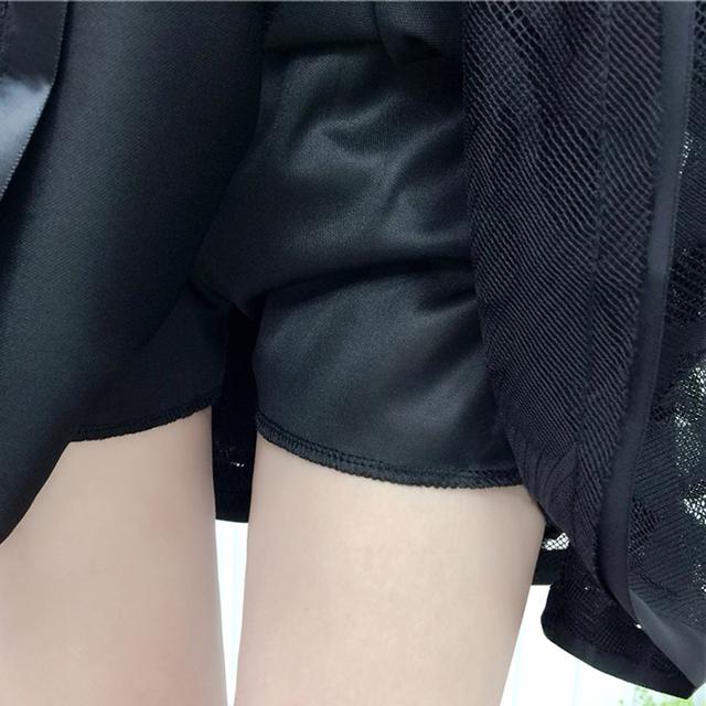 Tulle Skirt High Waist New 2019 Summer Women Black Mesh Beading Sweet Mini School Skirt Elastic Waist Tutu Skirt