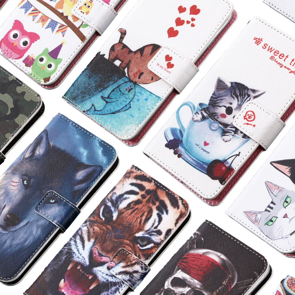 GUCOON Cartoon Wallet Case for Micromax Bharat 2 Plus Q402+ Fashion PU Leather Kitty Tiger Wolf Cover Cellphone Bag