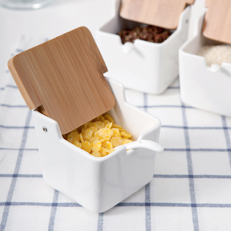 Set of 4 Spice <font><b>Pots</b></font> Bowls & Box Bamboo Cover Container Seasoning
