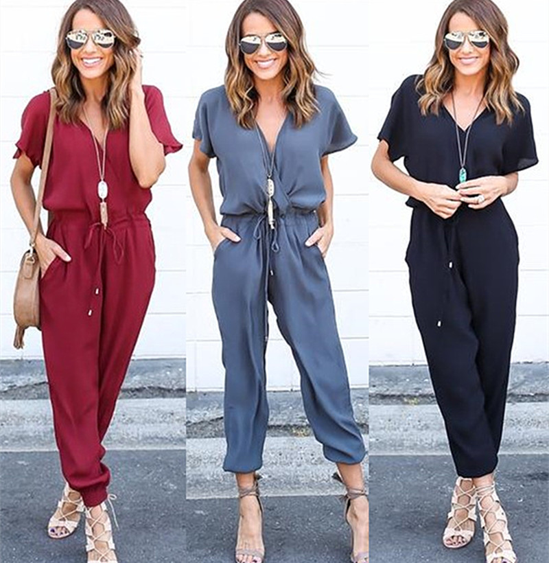2017 Summer women's short sleeve stretch causal jumpsuit V Neck Rubber bodysuit Overalls Bodycon Rompers