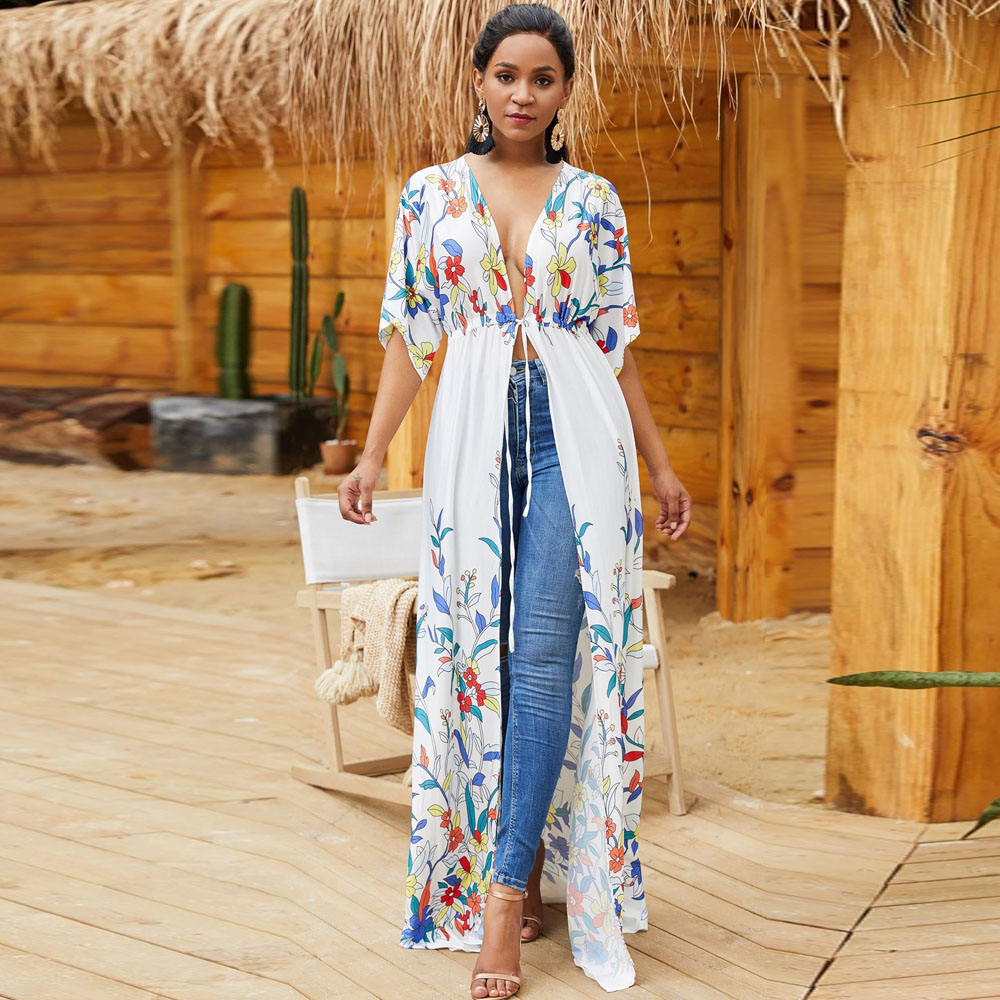 Elegant Bohemian Long Maxi Dress Beach Sarongs Hippie Boho -3274