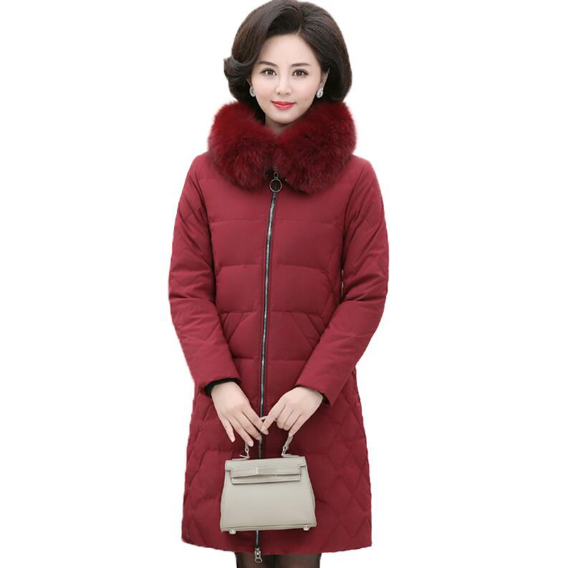 2018 Plus Size Winter Women   Down   Jacket Fashion Middle-aged Mother Fox Fur Collar Thicken White Duck   Down     Coat   Hooded Long   Coat